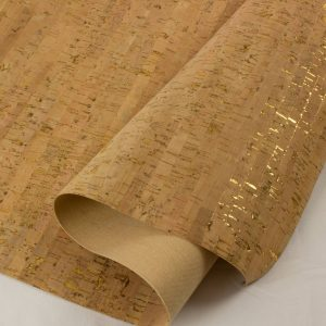 Natural with Gold – Cork Fabric