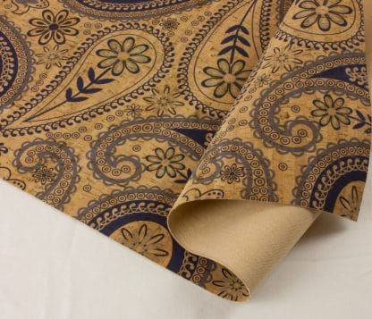 Printed Cork Fabric – Paisley Blue