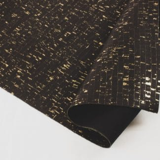 Natural Cork Fabric – Black with Gold