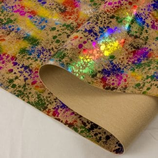 Printed Cork Fabric – Rainbow Splatter