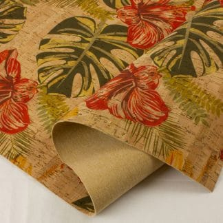 Printed Cork Fabric – Hibiscus