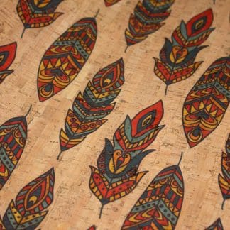 Printed Cork Fabric – Feathers