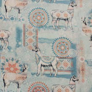 Quilting – Timeless Treasures Fabrics: Llama Love – Aqua Llama