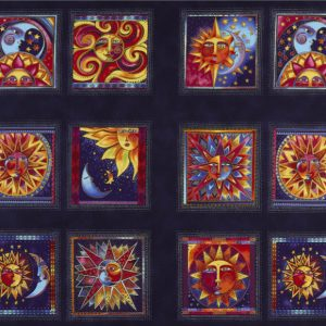 Laurel Burch Celestial Magic - Blocks Panel Light Navy