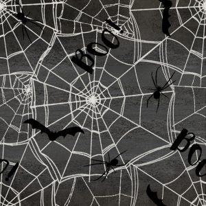 Spooky Night Webs Charcoal