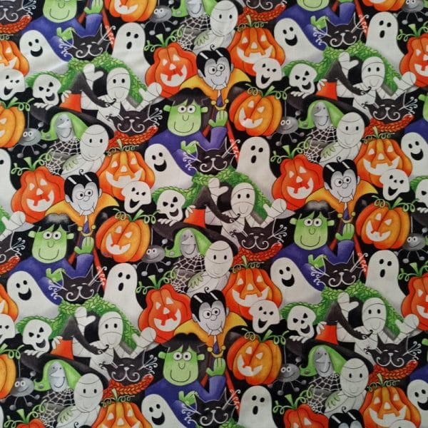 Multi Packed Faces Glow in the Dark Fabric