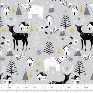 Peace on Earth Animals Glitter – Grey by 3 Wishes