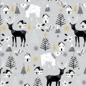 Peace on Earth Animals Glitter - Grey by 3 Wishes